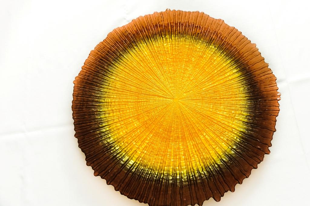 Prato de Vidro Marrom e Amarelo - Vylux