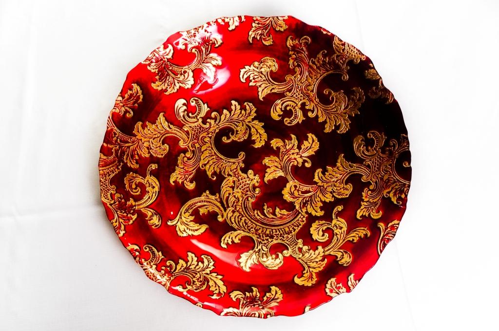 Saladeira Funda Vermelha e Dourada G - Vylux
