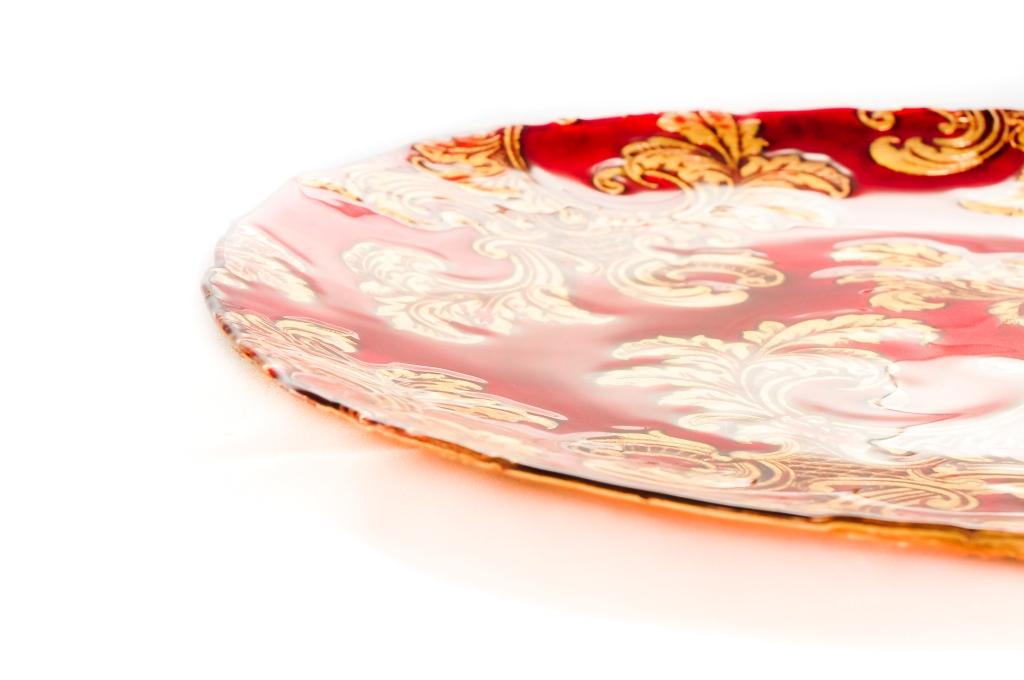 Prato de Vidro Vermelho e Dourado - Vylux