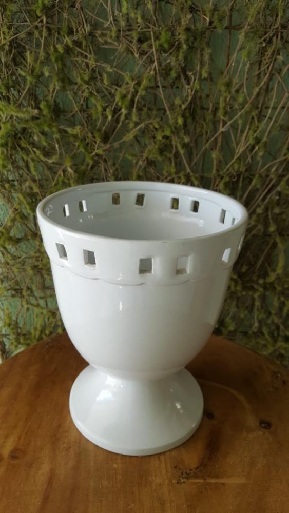 Vaso calice branco porcelana grande