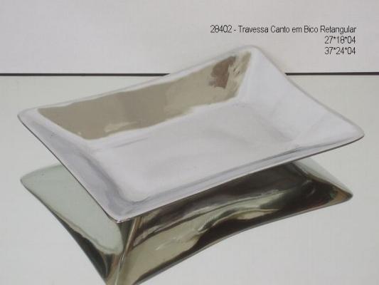 Travessa de Alumínio Polido Retangular Funda