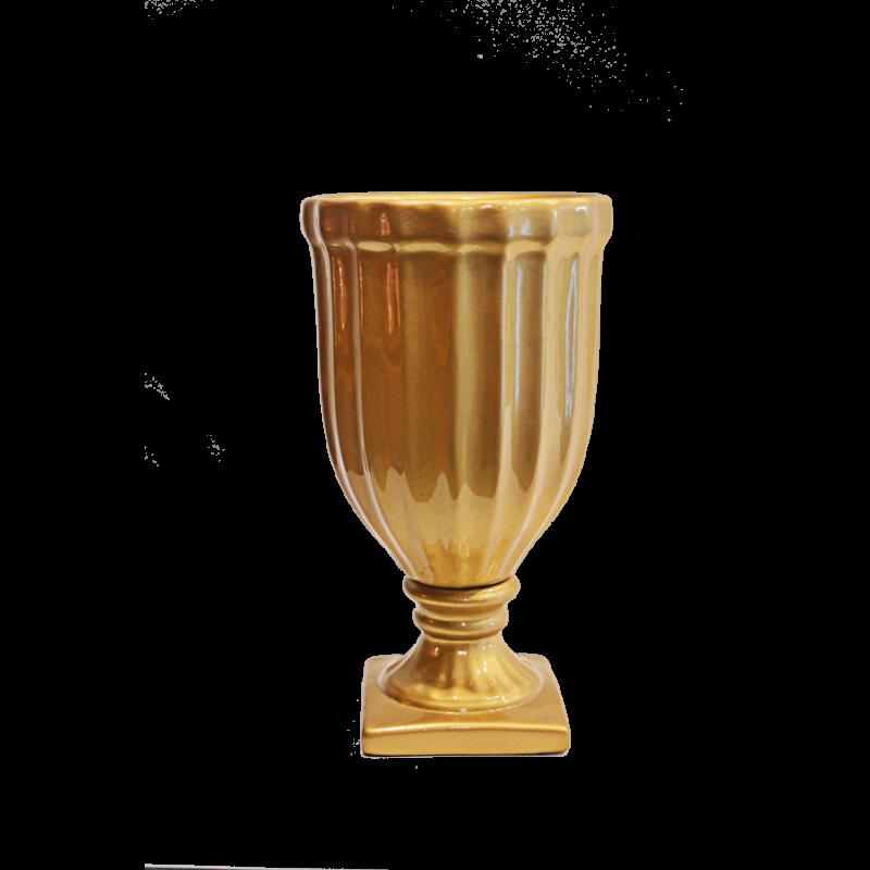Vaso Canelado Dourado Médio