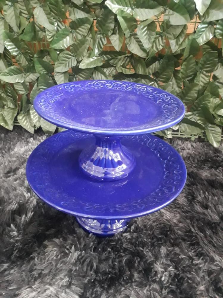 Suportes redondo porcelana azul royal floral (md e pq)