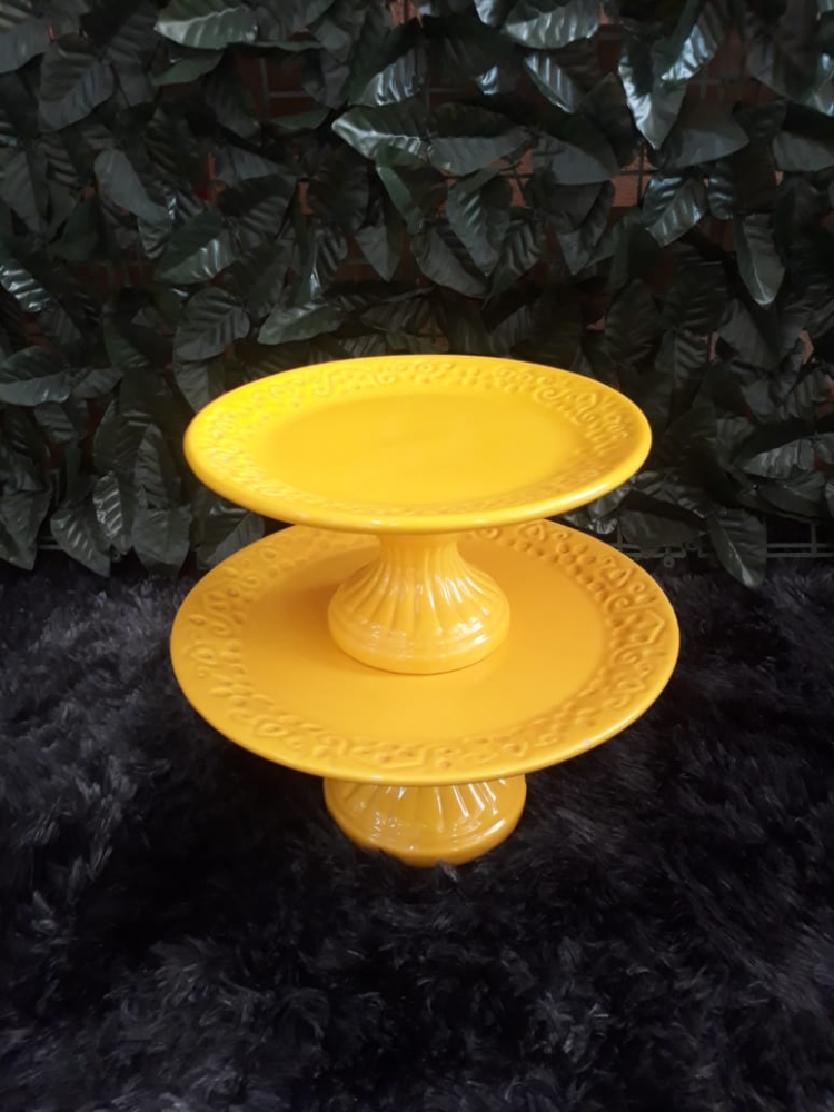 Suporte redondo porcelana amarelo floral (md e pq)