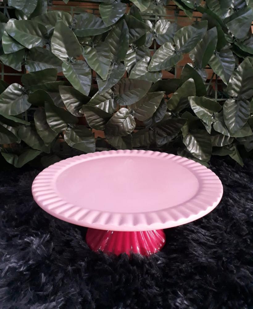 Suporte redondo porcelana rosa bebê com pé rosa pink frisado pq