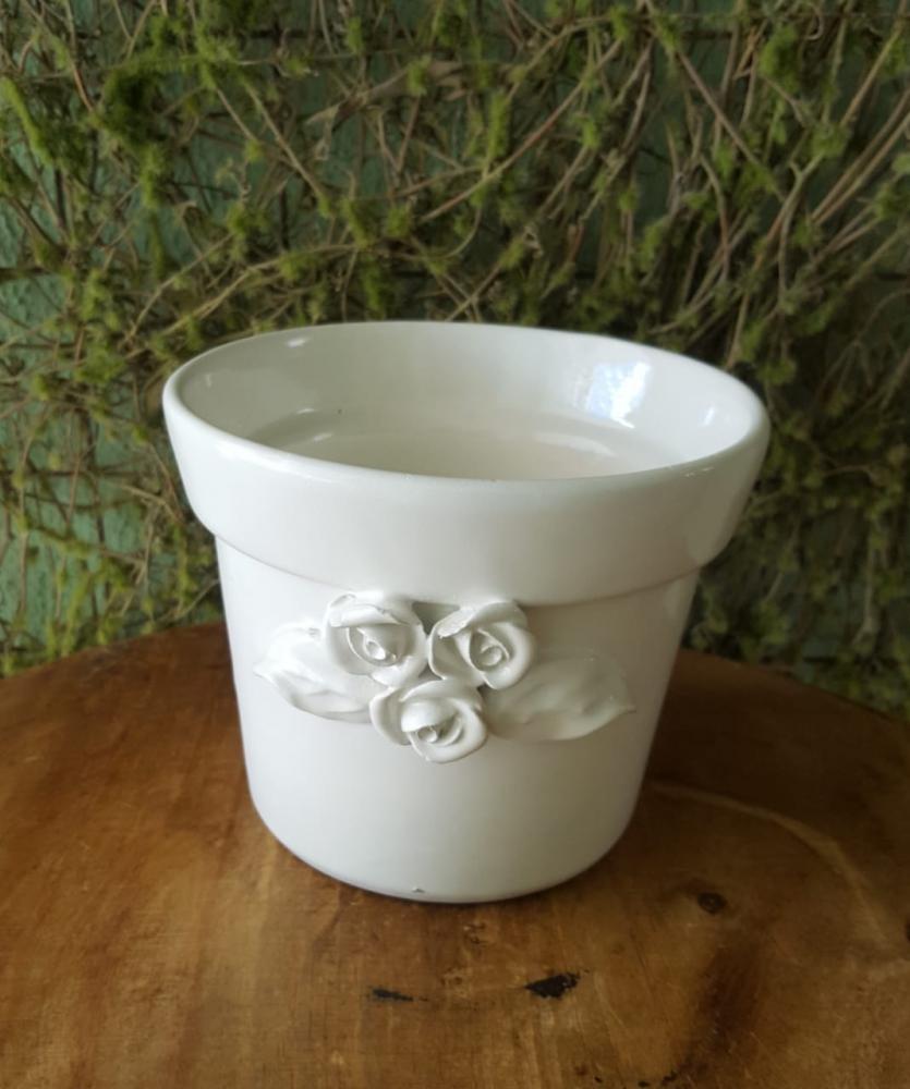 cachepo  porcelana branco flor
