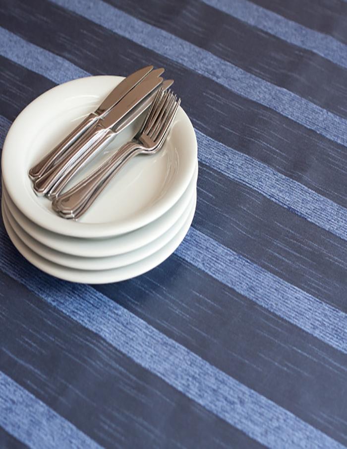 Toalha de Banquete Azul Jeans Adamascada