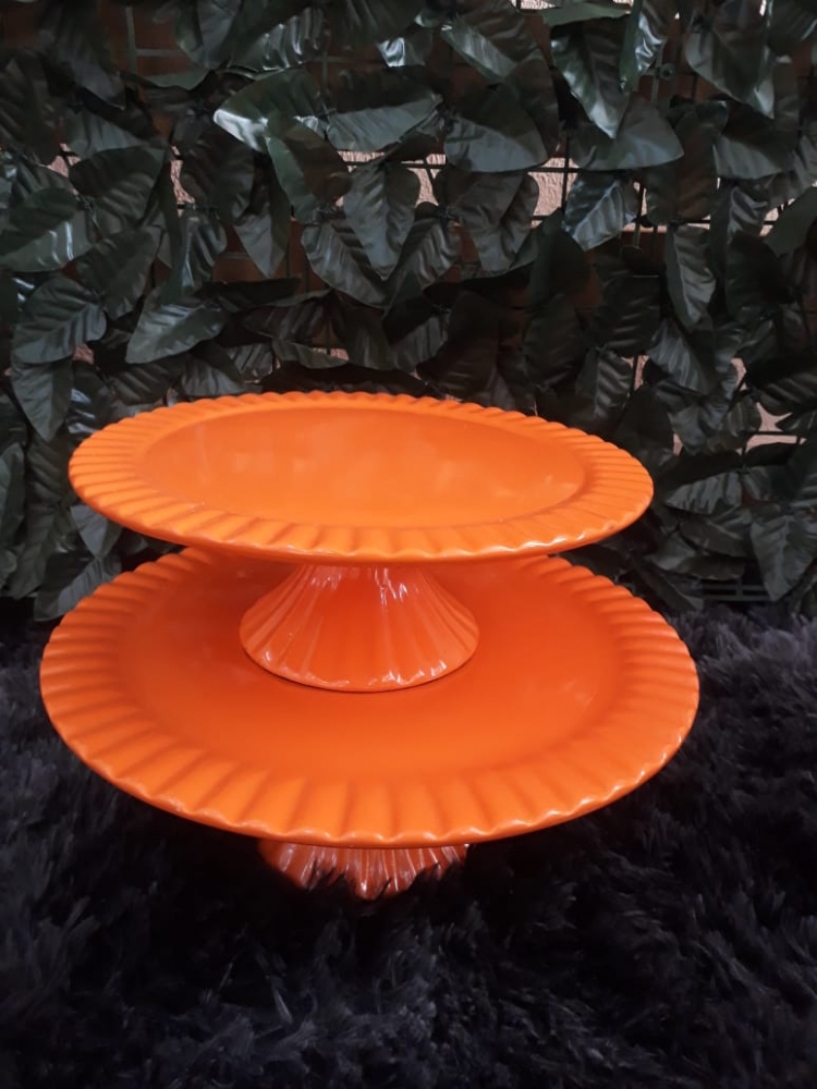 Suporte redondo porcelana  laranja frisado (md e pq)
