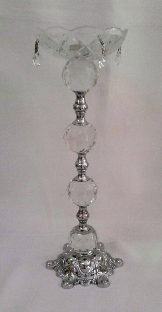 Castiçal de Cristal Prata G