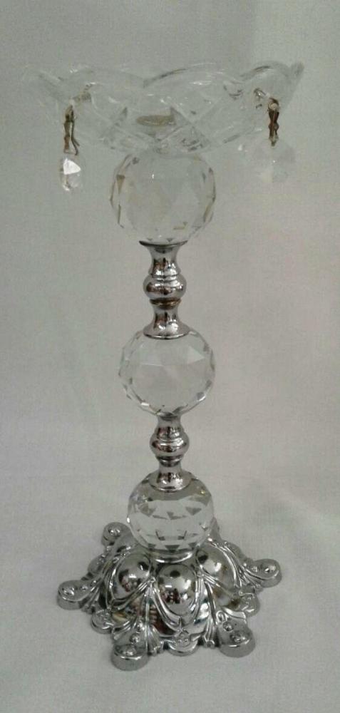 Castiçal de Cristal Prata M
