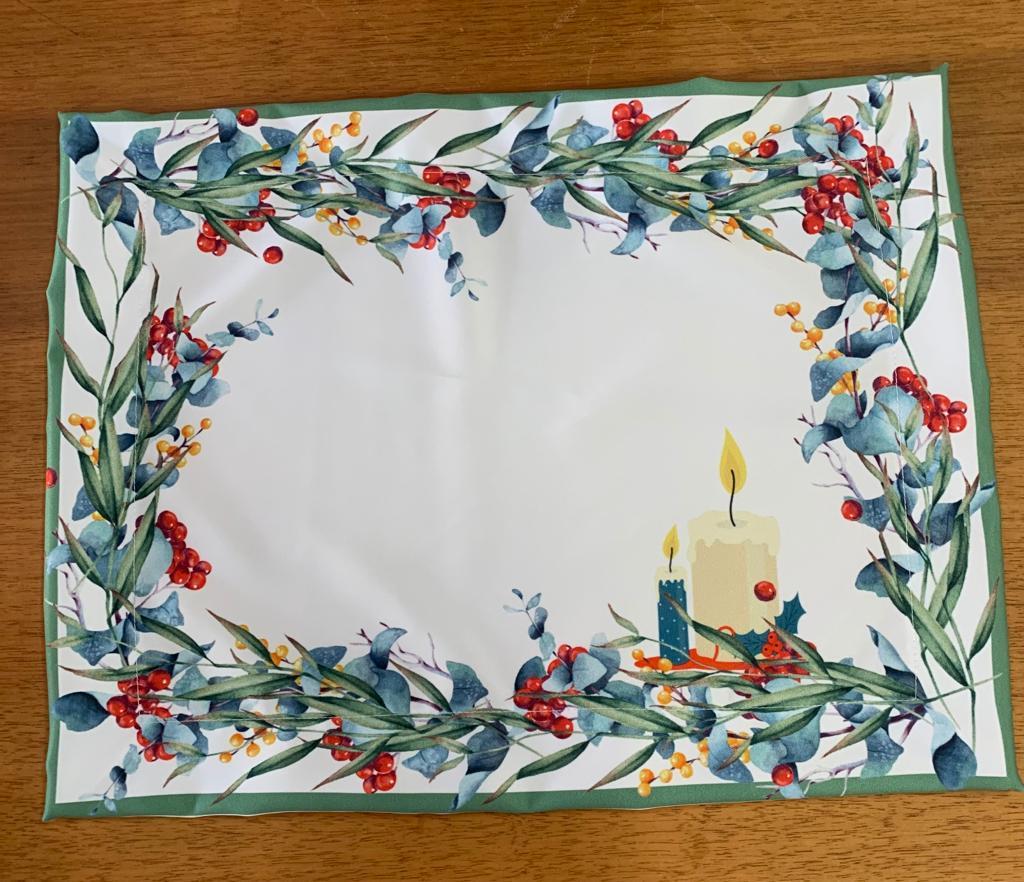 Jogo americano retangular natalino verde olivia com 2 velas