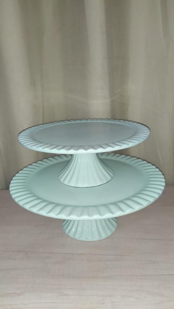 Suporte redondo porcelana verde aguá frisado (md e pq)