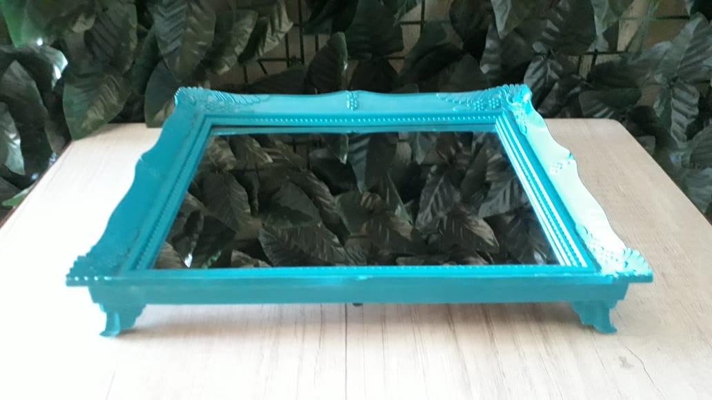Suporte Bandeja Azul Tiffany Espelhada Provençal 29x24