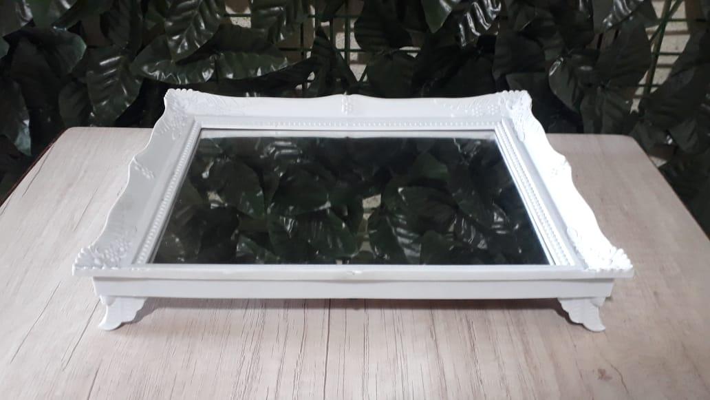 Suporte Bandeja Branca Espelhada Colonial 29x24