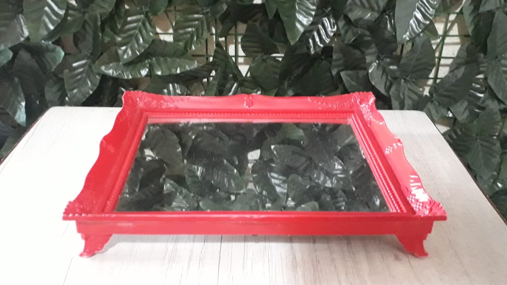 Suporte Bandeja Vermelha Espelhada Colonial 29x24