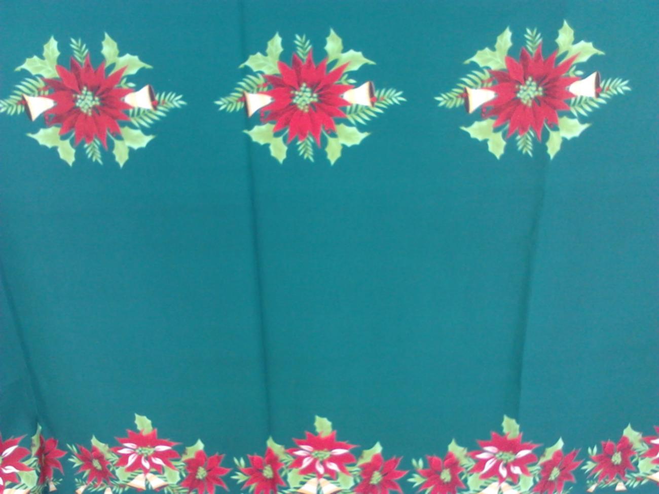 Toalha de Banquete Natalina Verde Bandeira Barra Flor