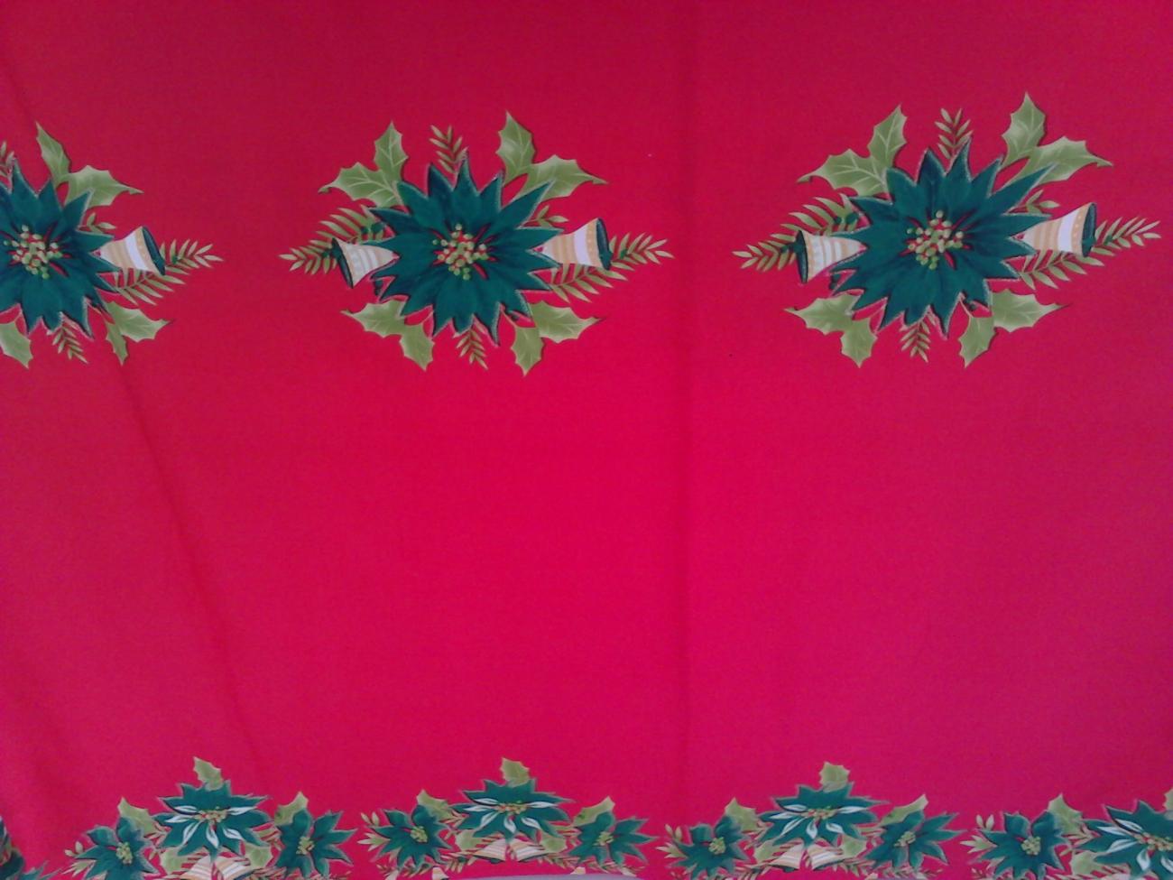 Toalha de Banquete Natalina Vermelha Barra Flor