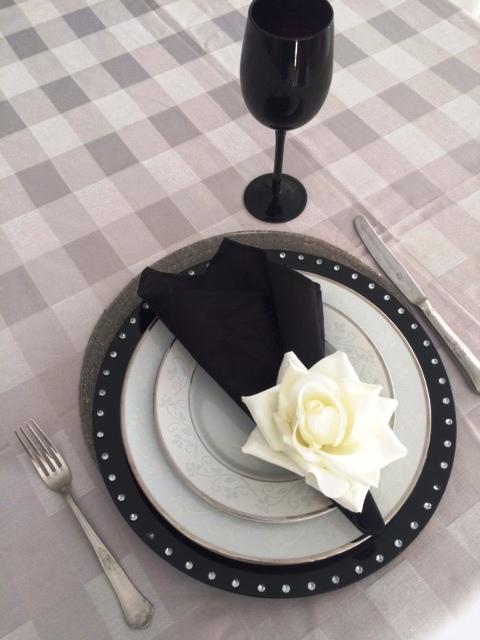 Toalha de Banquete Prata Quadriculada