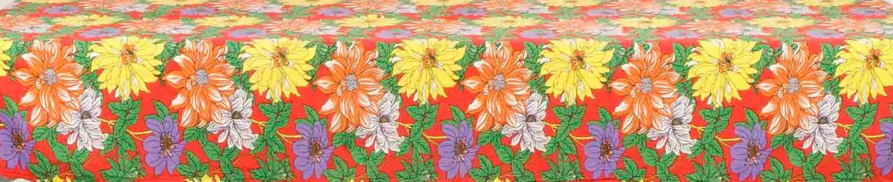 Toalha Quadrada Chitão Vermelho Floral