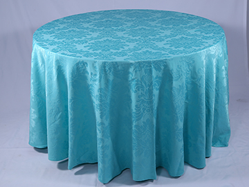 Toalha Redonda de 06 Lugares Azul Tiffany Medalhão
