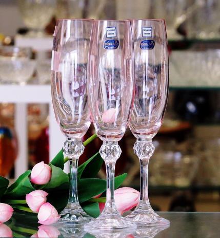 Taça Champanhe Bohemia Cristal Rosa 450ml