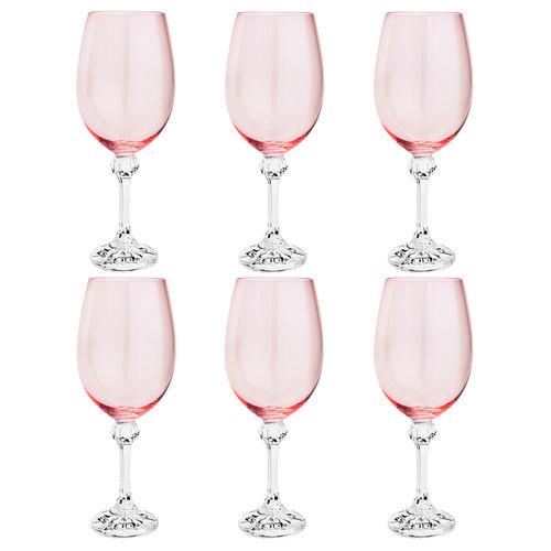 Taça Água Bohemia Cristal Rosa