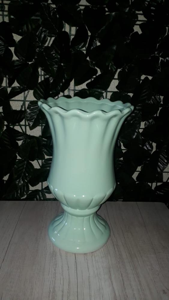 Vaso Porcelana Verde Bebê Grande
