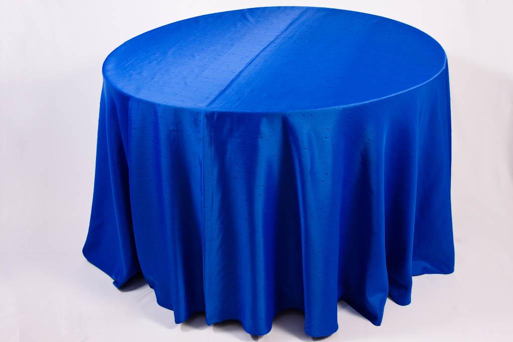 Toalha Redonda de 10 Lugares Azul Royal Shantung