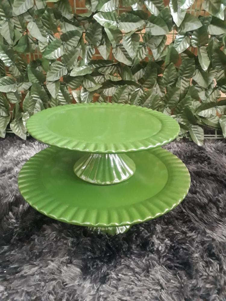Suporte redondo porcelana verde musgo frisado (md e pq)