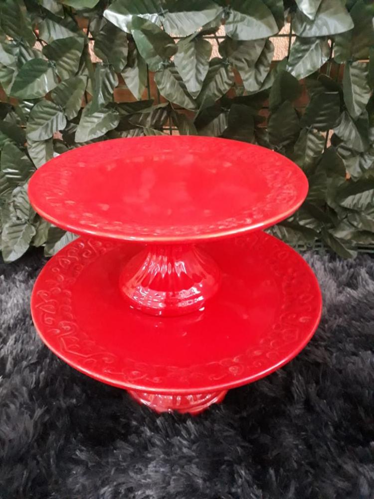 Suporte redondo porcelana vermelho floral (md e pq)