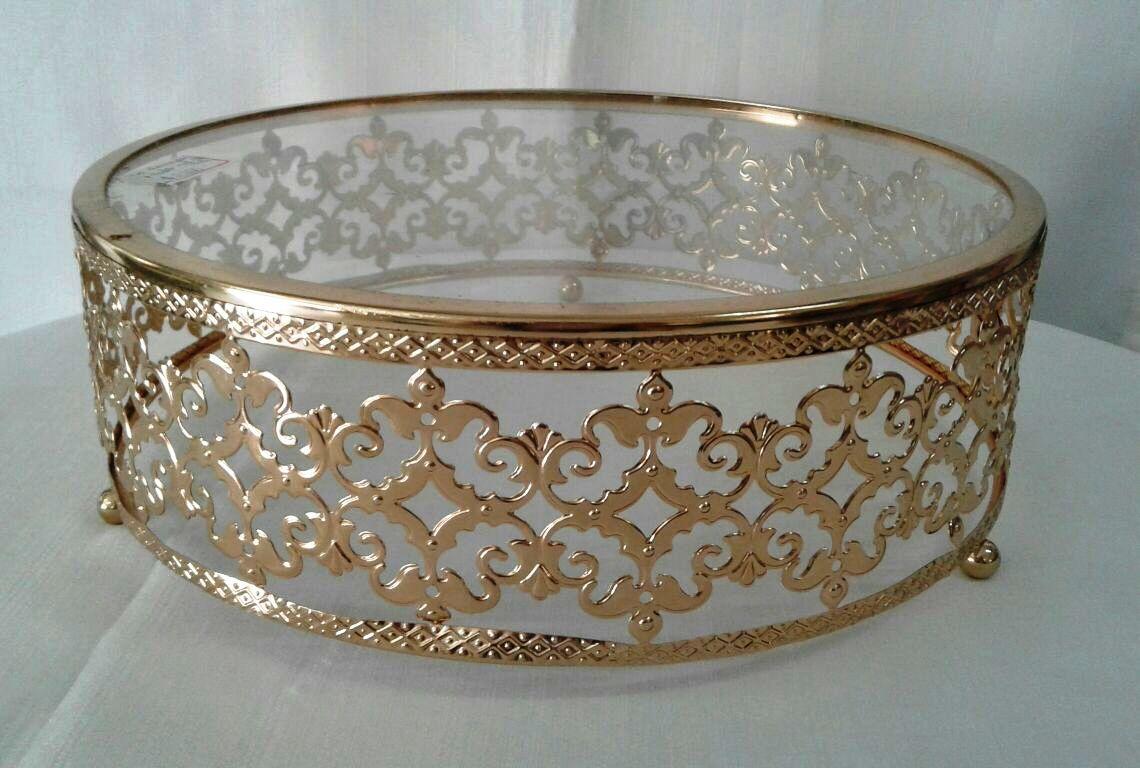 Boleira De vidro Dourada Rendada M