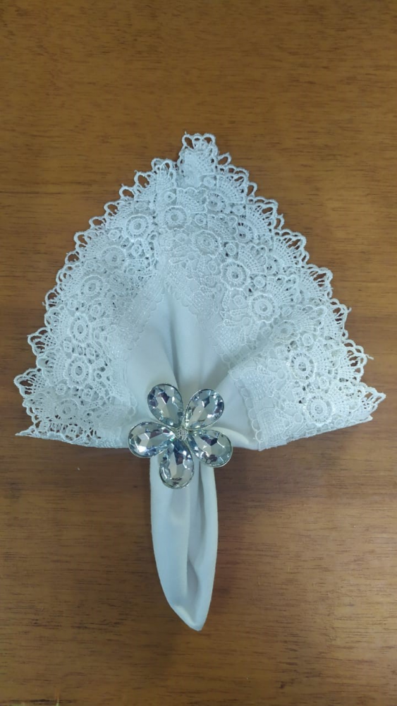 Porta Guardanapo de Metal Prata - Flor de Cristal