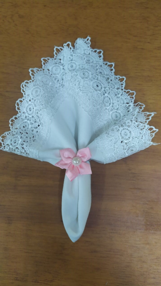 Porta guardanapo florzinha pq rosa tecido
