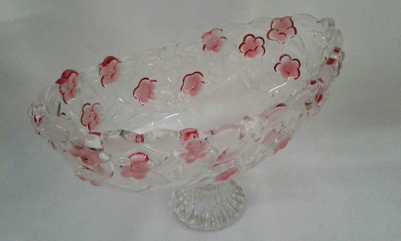 Peça de Cristal Floral Rosa oval com Pé