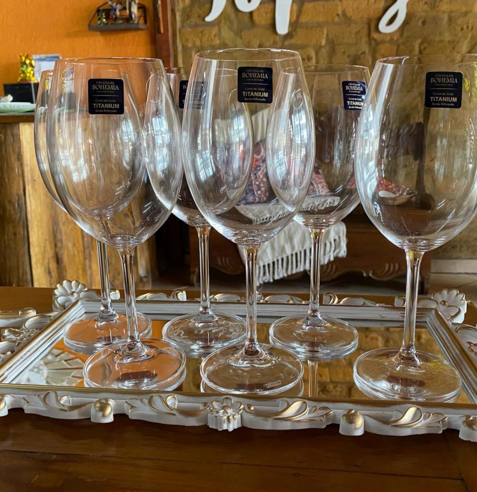 Taça cristal transparente bohemia