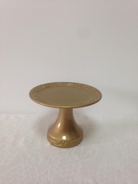 Boleira de Cerâmica Dourada Realeza Pequeno