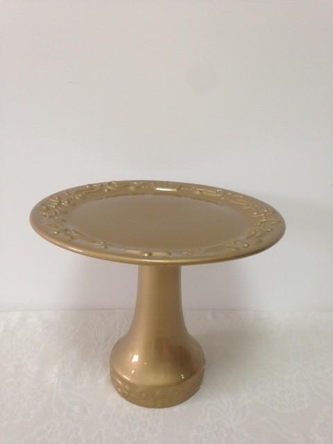 Boleira de Cerâmica Dourada Realeza Grande